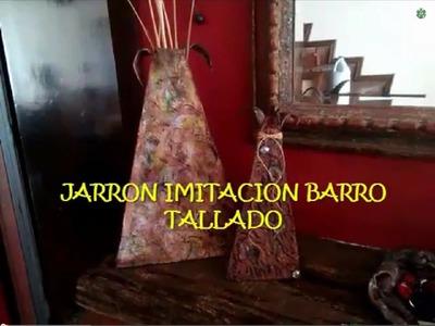 DIY Jarrón imitación barro tallado. Faux carved clay vase