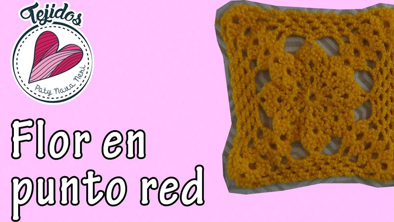 """""""Flor en punto red"""" Tejidos en cuadrito Cap. 6"""