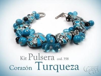 KIT 358 Kit pulsera corazon turqueza x und