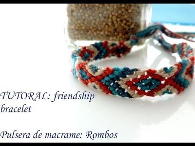 Pulsera macrame:friendship bracelet- rombos
