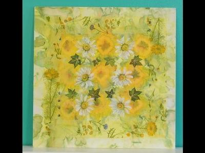 Tecnica Mixta – Shibori – Decoupage - Cuadro de flores