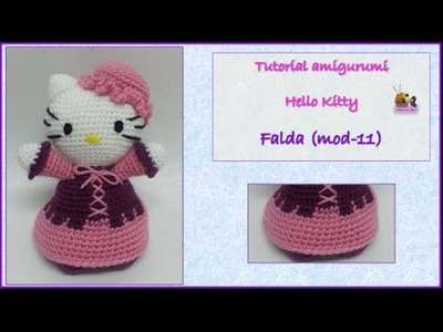 Tutorial amigurumi Hello Kitty - Falda (mod-11)