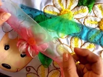 23.- bordado fantasía puntada para hojas y flor de listón