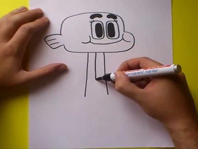 Como dibujar a Darwin paso a paso - El asombroso mundo de Gumball  | How to draw a Darwin