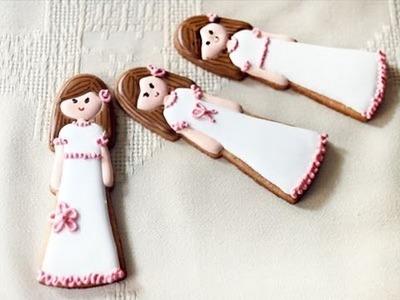 Cómo hacer galletas de niña de Primera Comunión
