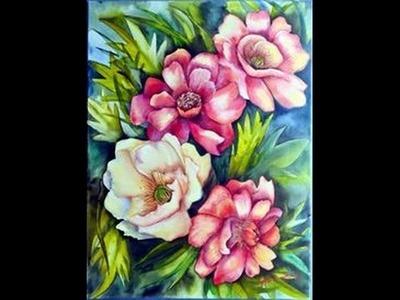 Como pintar flores y hojas - Acrilicos - Herminia Devoto Moni Dominguez