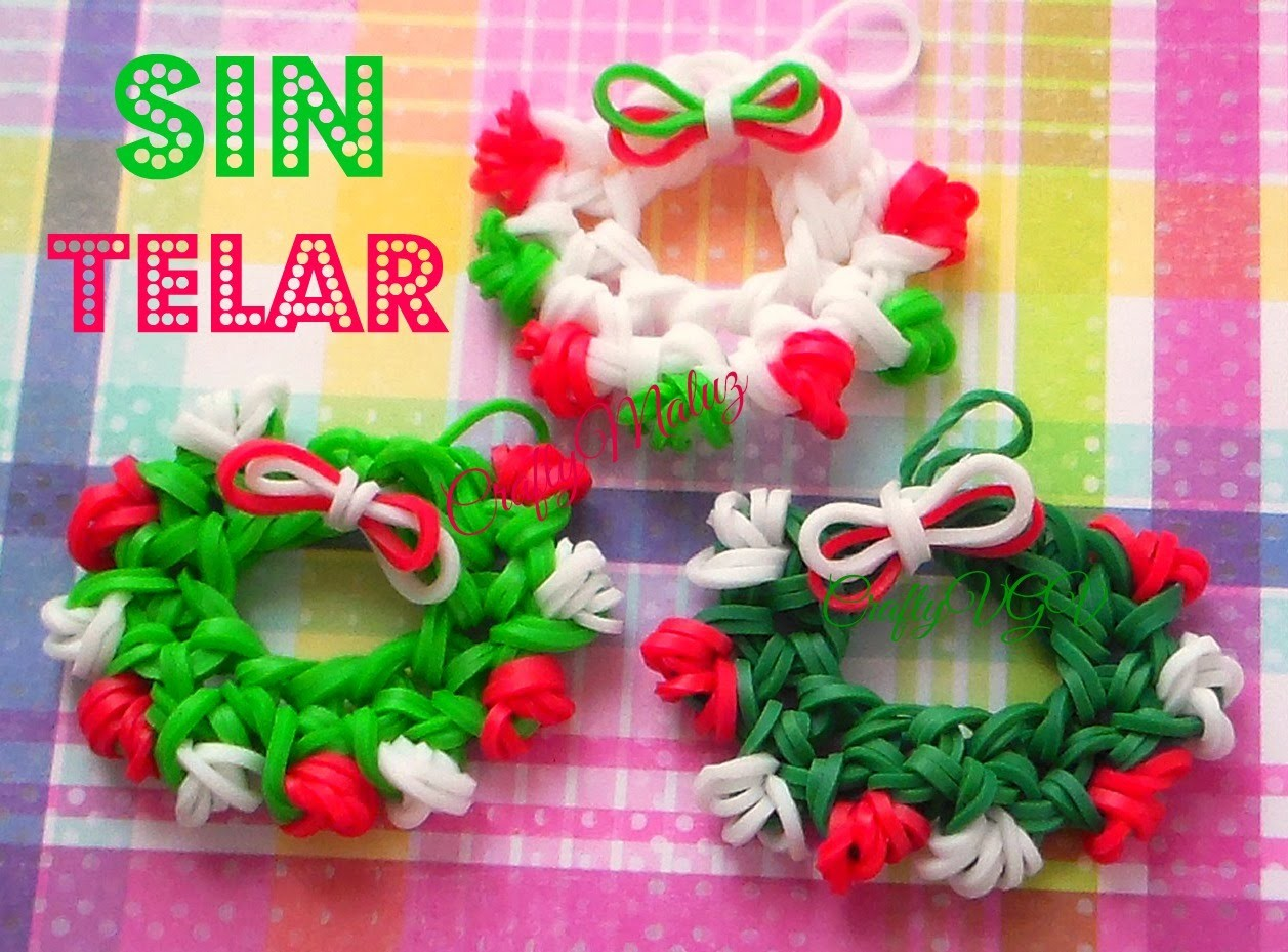 CORONA NAVIDEÑA DE GOMITAS(SIN TELAR)Rainbow Loom Holiday.Christmas Wreath Charm