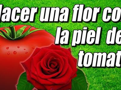 Flor decorativa con piel de tomate, cómo se hace