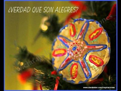 Manualidades navideñas para niños: adornos para el árbol de Navidad con botellas recicladas