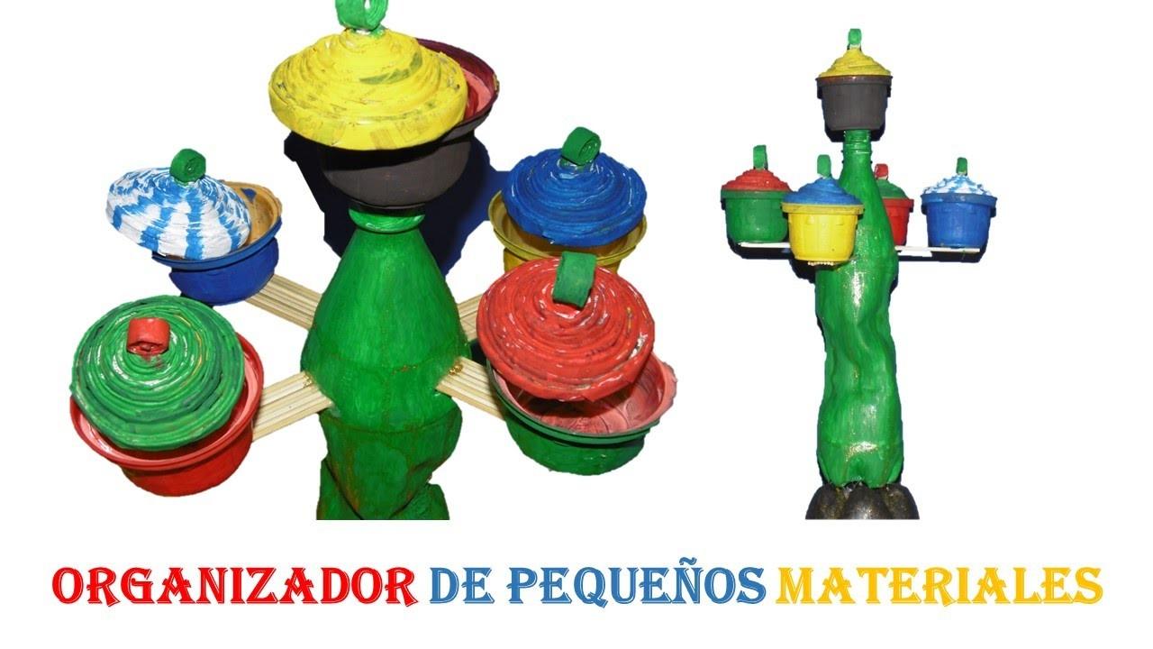 Manualidades - Organizador con material reciclado. (Botella pet)