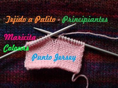 "Aprende a tejer a dos Agujas (Lección 4) Tutorial Palitos  ""Punto Jersey "" para Principiantes"