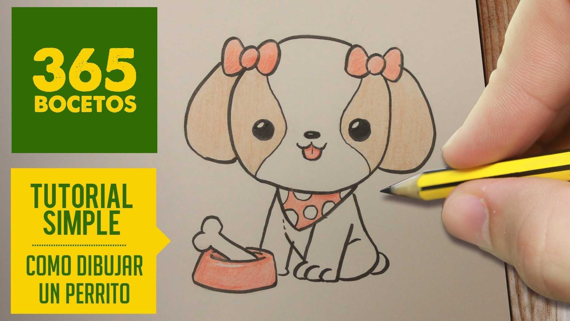COMO DIBUJAR PERRITOS KAWAII PASO A PASO - Dibujos kawaii faciles - How to draw a dog