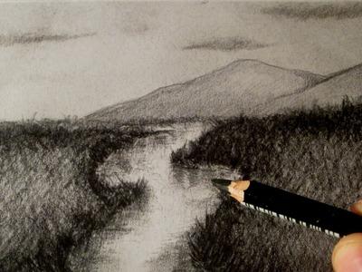Cómo dibujar un río, dibujo de un paisaje HD