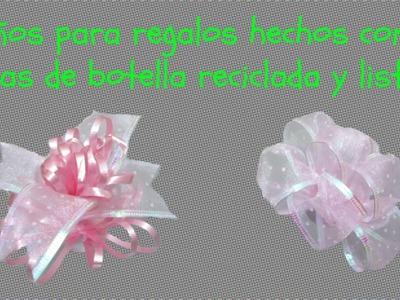 Como hacer moños usando tapas de botella recicladas y listón. Manualidades