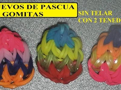 Como hacer un huevo de pascua de gomitas con dos tenedores, sin telar, huevo 2D