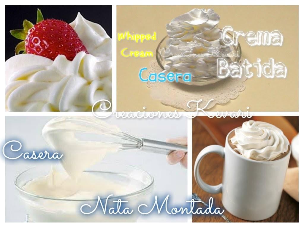 Crema Batida a base de leche Casera o Crema chantilly. Nata Montada. DIY Homemade Whipped Cream