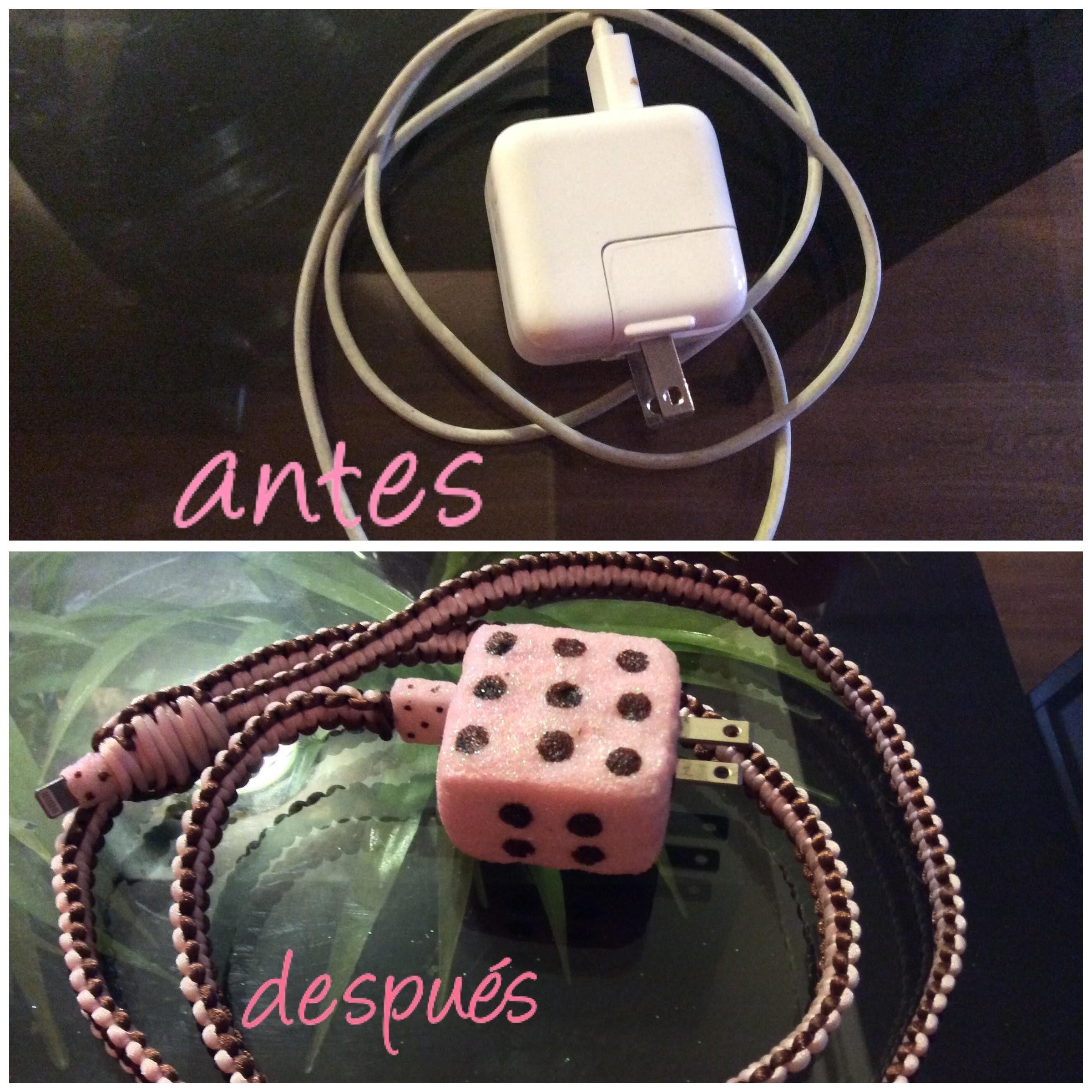Decora el cable de tu telefono o tablet. manualidades faciles