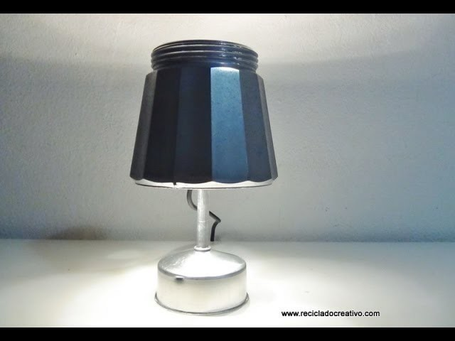 Lampara realizada con una cafetera italiana   How to make a lamp out of an italian coffee maker