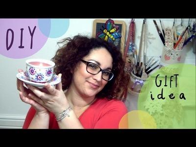 Manualidad Como hacer VELAS en TAZAS de tè - Idea para el Dia de la Madre