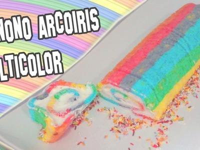 Recetas de Cocina | Como Hacer Pionono Arcoiris Multicolor | Rainbow roll