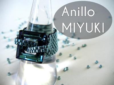 Abalorios Manualidades - Anillo Miyuki con Swarovski Elements