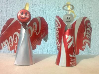 Angelitos para arbolito de navidad hechos con latas de aluminio
