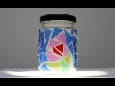 Cómo hacer un mosaico trencadís reciclando botellas de plástico y reutilizando un bote de cristal