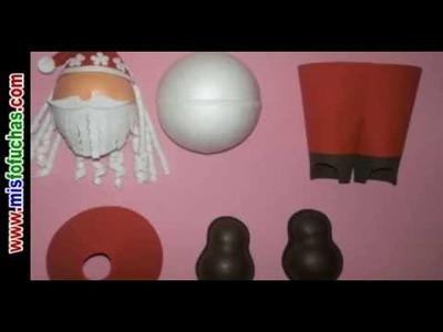 Fofucha Papá Noel Fofucho Santa Claus paso a paso Moldes Fofuchas en fomy Fofuchas navideñas