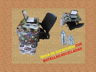 Manualidades con reciclaje - mesa de escritorio con botellas plásticas (pet)