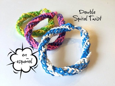 Rainbow Loom en ESPAñOL - Pulsera de Gomita DIY - Double Twisted Spiral