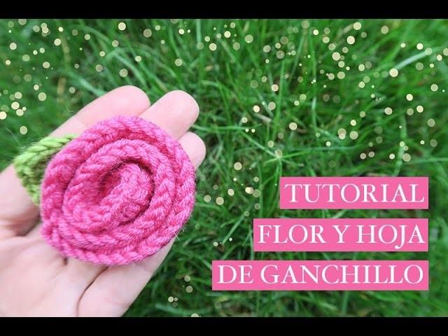 Cómo hacer una flor de ganchillo fácil con una hoja | How to crochet a flower and leaf