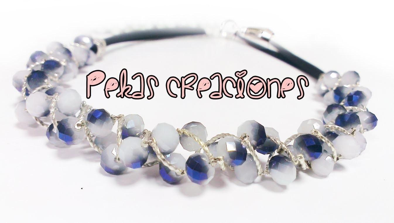 Como hacer un Collar de Perlas y Cristales : Pekas Creaciones