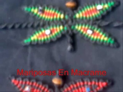 Mariposas En Macrame y Pulseras En Colores Rasta - Butterflies In Macrame Rasta colors and Bracelets