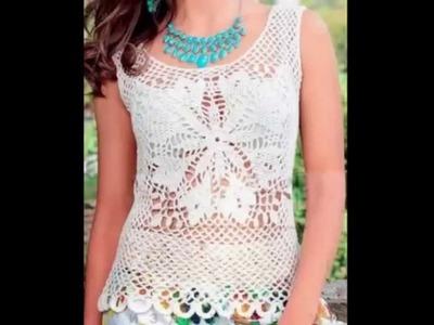 Top Blanco Florezota Tejido a Crochet