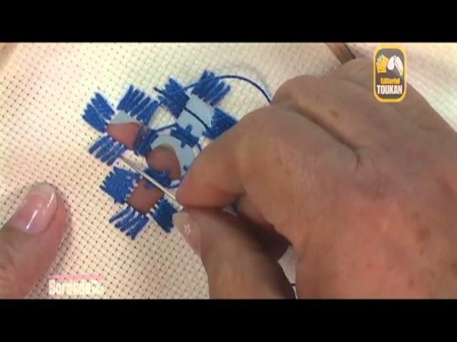 Bridas zurcidas con piquitos y envueltas, Técnica Hardanger. Editorial Toukan