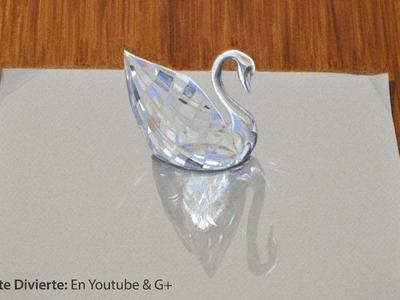 Cómo dibujar vidrio: dibujo 3D de un cisne de cristal Swarovski - Arte Divierte