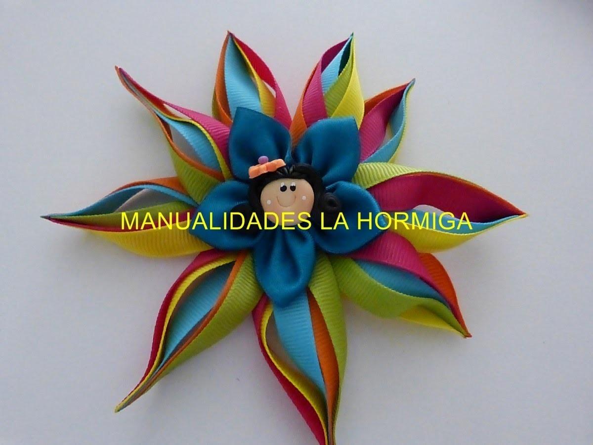 Flor de puntas en cinta para el cabello paso a paso. DIY: satin ribbon flowers