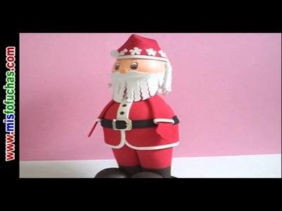 Fofucho Santa Claus Fofucha Papá Noel paso a paso Fofuchas navidad Decoracion navideña