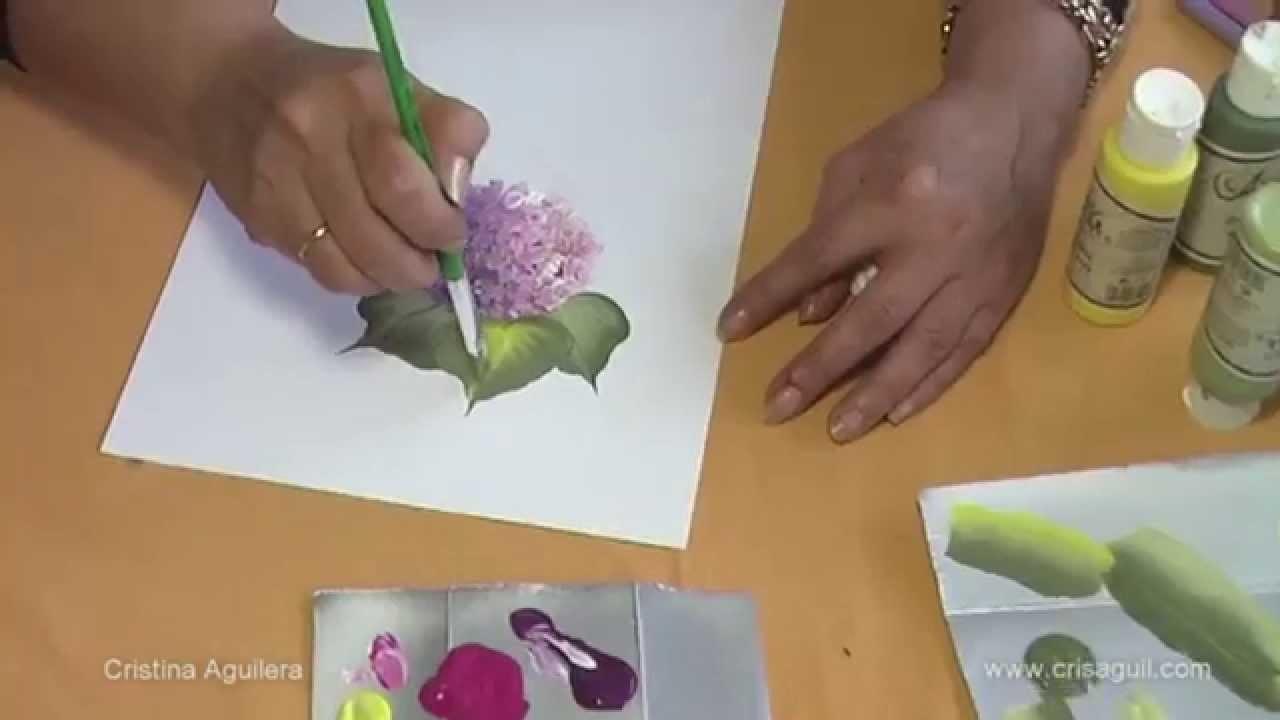 Pintar Hortensias . Painting hydrangeas one stroke