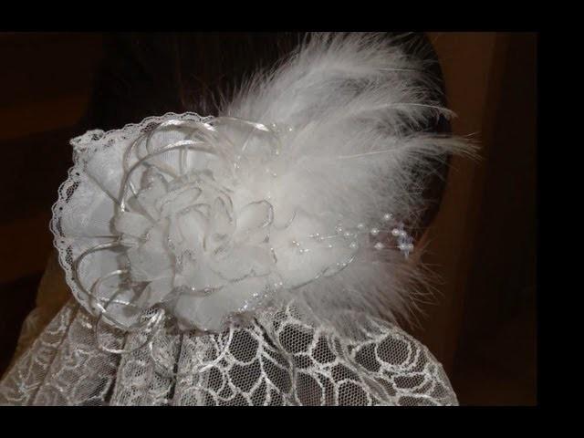 Tocado de novia con flor de organza