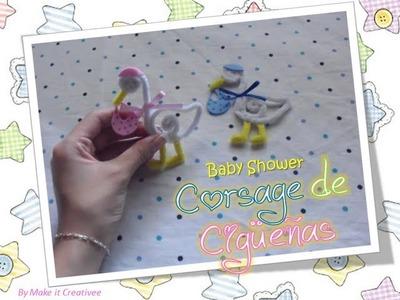 [Baby Shower] Corsage de Cigueñas