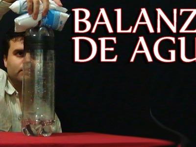 Balanza casera con 3 botellas de plástico