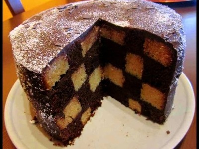 BIZCOCHO TABLERO AJEDREZ. CHECKERBOARD CAKE