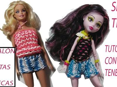 Como hacer un pantalón de gomitas para Barbie o Monster high ropa muñecas sin telar con tenedores