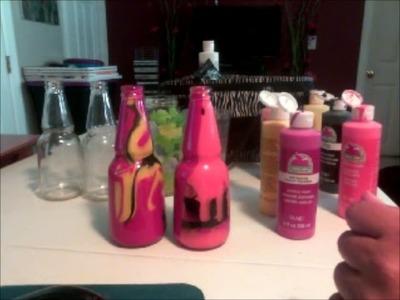 Como pintar botellas por dentro con diseños