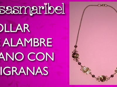 DIY:Collar de alambre plano con filigrana.Collares de moda.Necklace.
