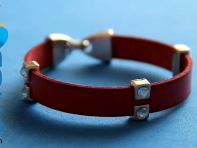 Hacer una pulsera de cuero con brillantes