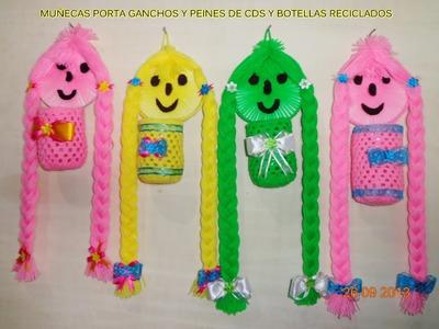 MUÑECAS  PORTA PEINES Y GANCHOS DE CDS Y BOTELLAS RECICLADAS PASO A PASO
