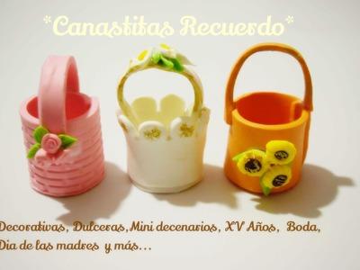 Como hacer Canastitas Florales Recuerdos Faciles - Cold porcelain Easy Tutorials