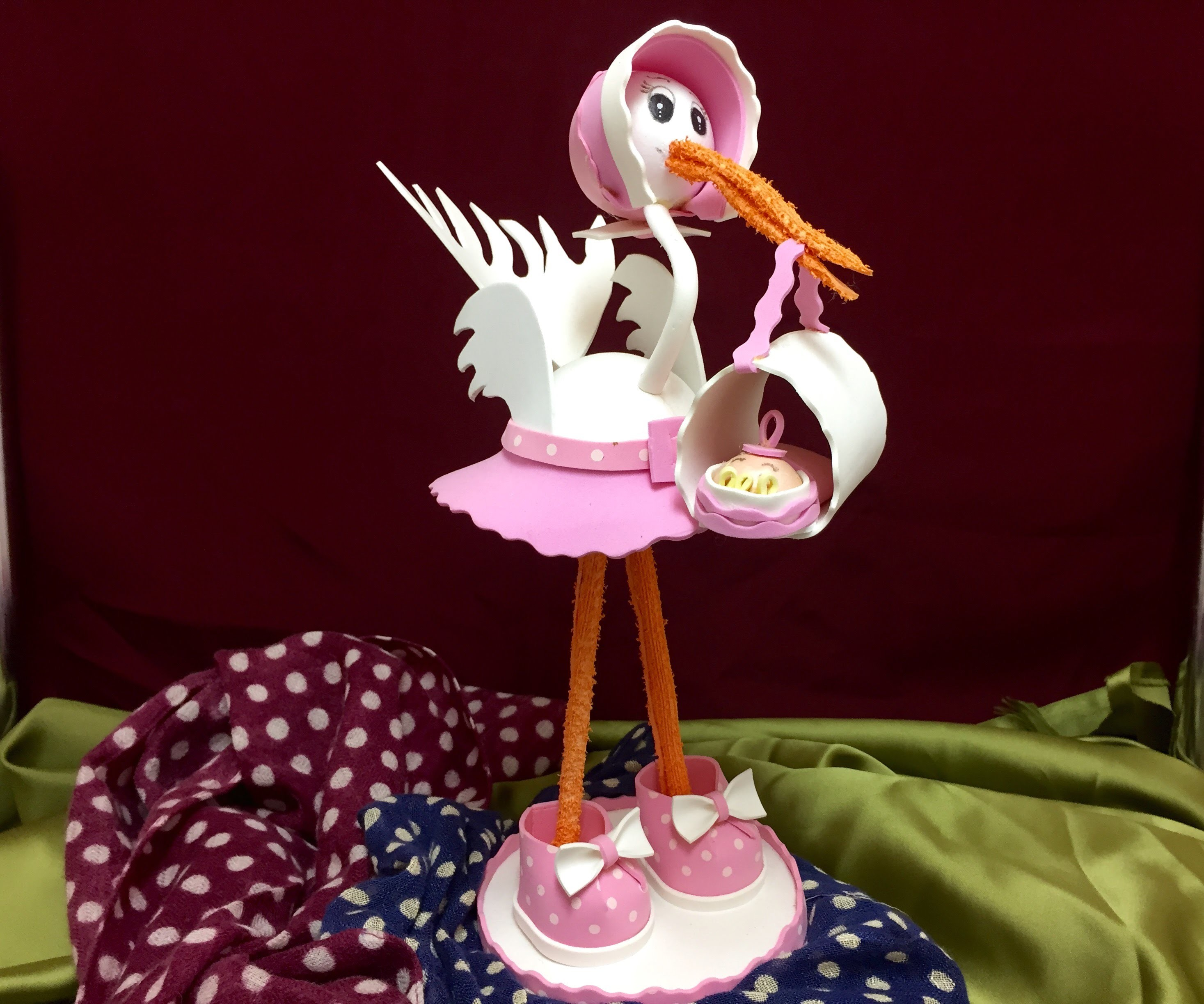 Como Hacer CIGUEÑA DE GOMA EVA - How to make a GOMA EVA stork with a baby